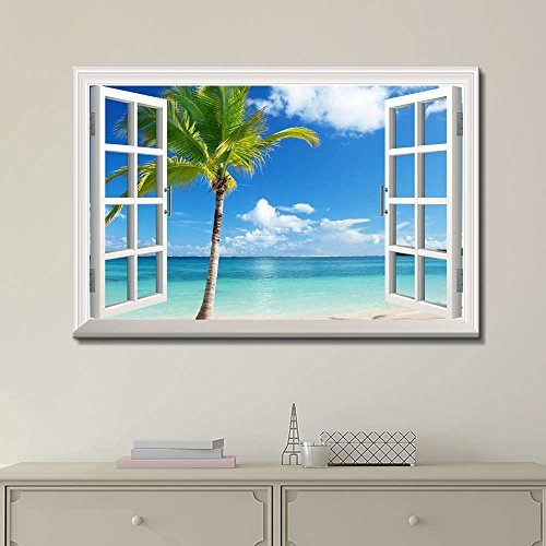 Print Window Frame Style Wall Decor Beautiful Scenery Landscape Palm Tree on Tropical Beach Stretched
