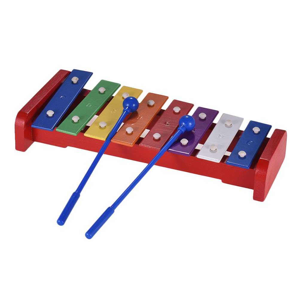 Colorful 8 Notes Xylophone Glockenspiel with 2 Mallets Percussion Instrument Musical Toy Gift for Kids Children