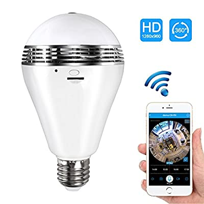 Camera Bulb VR Panoramic Bulb Camera with 360 Degree Fisheye Lens Wireless Wifi Camera hidden cameras for home Led Lights Bulb for Home Security System Camera Android IOS APP White