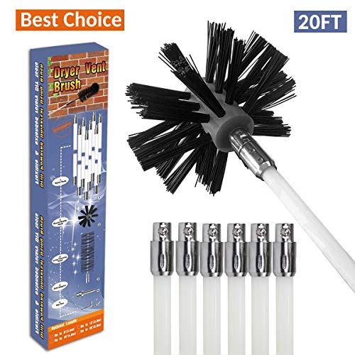 REALFLO 20ft Rotary Dryer Vent Lint Brush, 10-Piece Dryer Duct Cleaning System kit (Best Duct Cleaning Equipment)