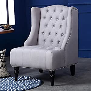 innovative modern high back living room chairs | Amazon.com: Belleze Modern Wingback Tufted NailHead Accent ...