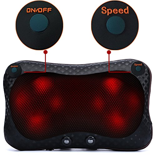 Shiatsu Deep Kneading Massager Pillow, Double Button Adjustable Speed Electric Massage Pillow Relax Neck Sooth Shoulder Relieve Back Pain for Office Cars and Home(Black)