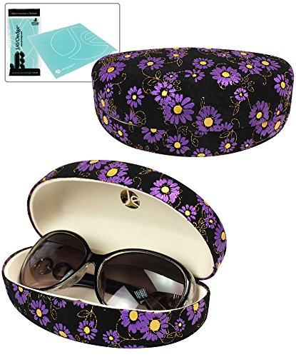 Purple Daisy Flower (JAVOedge Purple Daisy Flower Pattern Hard Clamshell Style Sunglass / Eyeglass Case)