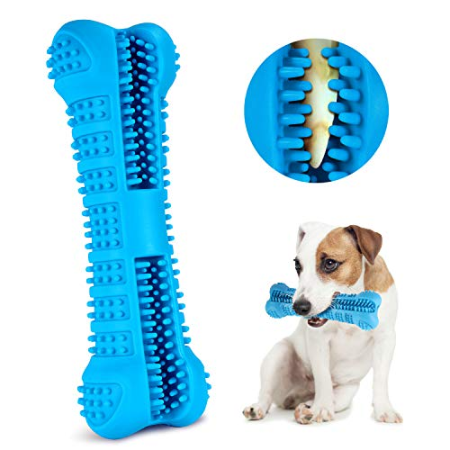 FULNEW Dog Toothbrush Chew Toys Dog Teeth Cleaning Puppy Dental Care Brushing Stick Silicone Dog Chew Bones Bite Resistant for Dogs Oral Care (Blue)