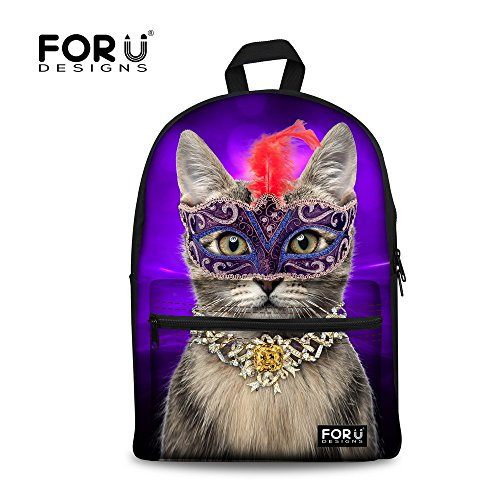 FOR U DESIGNS Cute Party Cat Backpack Purple Comfortable Can