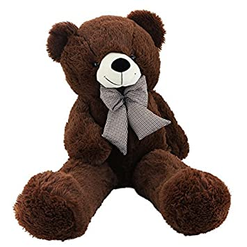 Amazon wewill easter gift huggable stuffed animal giant teddy bear wewill easter gift huggable stuffed animal giant teddy bear with cute bowtie 39 inch dark brown negle Images