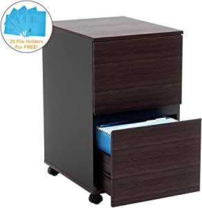 Bestier 2 Drawer File Cabinet with 20 Free A4 File Holders Office Drawer with Wheels Under Desk Wood Storage Cabinet Drawer Desk Drawer Filing Cabinet P2 Wood (Brown)