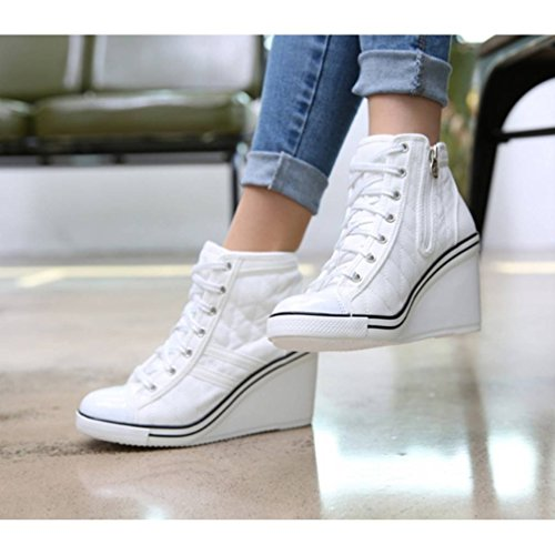 7a988019399 outlet EpicStep Women s Canvas Shoes High Top Wedges High Heels Quilted Casual  Fashion Sneakers
