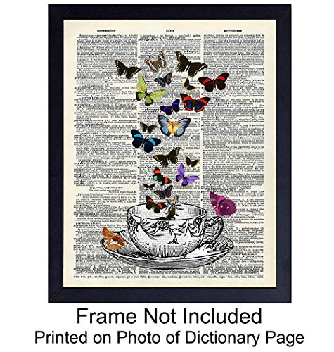 Vintage Teacup and Butterflies On Photo of Dictionary Page - Unframed Wall Art Print - Great Home Decor For Kitchen, Dining Room - Easy Anniversary Gift - Chic and Rustic - Ready to Frame (8x10) Photo ()
