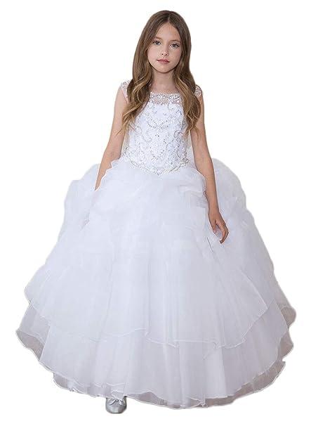 f23be226a Amazon.com  Gigi s Classy Kids First Communion White Long Dress ...