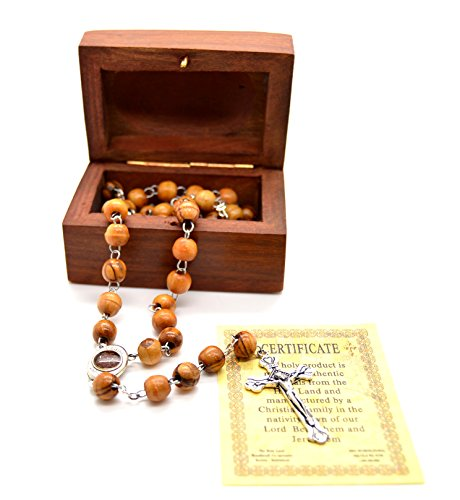 Holy Land Olive Wood Rosary Beads with Holy Soil with Madonna and Child From Bethlehem and Wooden Hand Carved Jewelry Box (Rosewood Beads Wood)