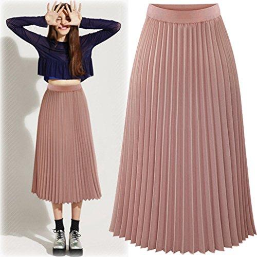 Heheja Femme Taille Haute Mousseline Jupe Loisirs lgant Plissage Jupes Pink
