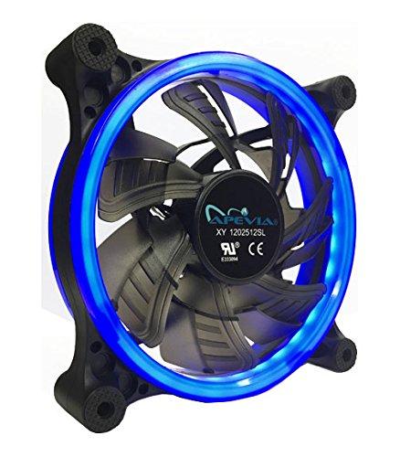 APEVIA 12L-CBL 120mm Silent Dual Rings Blue LED Fan with 32 x LEDs & 8 x Anti-Vibration Rubber Pads