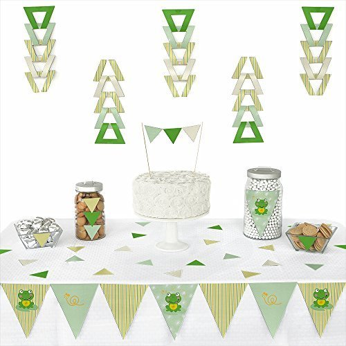 Big Dot of Happiness Froggy Frog - Triangle Baby Shower or Birthday Party Decoration Kit - 72 -