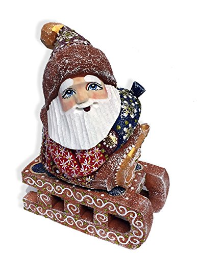 Wooden Hand Carved Painted Russian Santa Claus on Sled Figurine 5 Inch