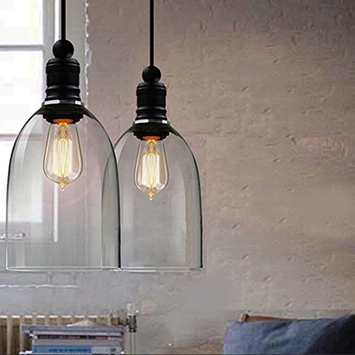 WINSOON Ecopower 1PC Light Vintage Hanging Big Bell Glass Shade Ceiling Lamp Pendent Fixture ()