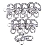 Yibuy 10 x Medium 304 Stainless Steel Snap Shackle Quick Release Swivel Bail Rigging