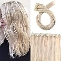 Moresoo 16 Inch One Piece Clip in Hair Extensions Ash Blonde #18 Highlighted with Bleach Blonde #613 5 Clips in Real Human Hair Extensions Double Weft 50 Grams Per Pack