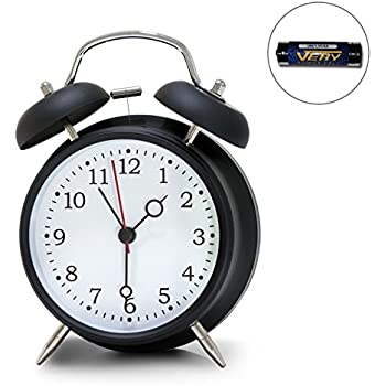 "4"" Twin Bell Alarm Clock, Loud Retro Alarm Clock, Battery Operated with Nightlight for Bedroom"