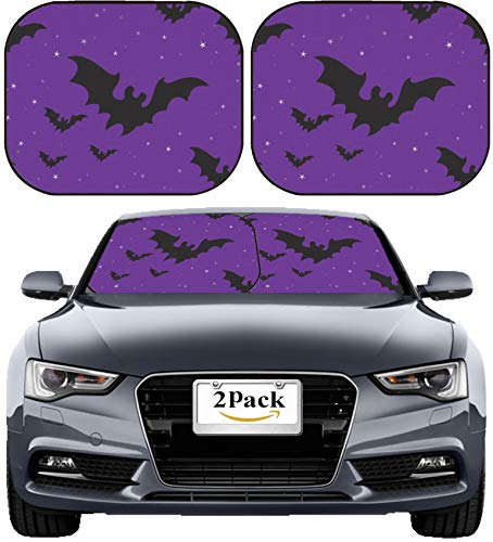 MSD Car Sun Shade Windshield Sunshade Universal Fit 2 Pack, Block Sun Glare, UV and Heat, Protect Car Interior, Image ID: 5649439 Seamless Background with Halloween Bats and Stars -