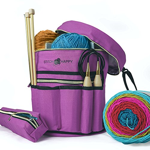 Tote Go Loom (Stitch Happy Knitting Bag - Yarn Tote Organizer w/Tool Case, 7 Pockets + Divider for Extra Storage of Projects, Supplies & Crochet (Lilac))