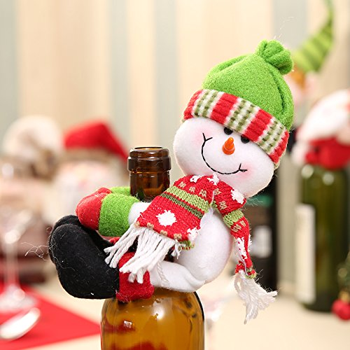 Snowman Wine Stopper - Xiaolanwelc@ 1PC Christmas Bottle Sets Santa Claus Wine Bottle Cover Holders Gift Bags Home Decor Wedding/Christmas Party Decoration Supplies (Snowman)