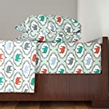 Roostery Moroccan 3pc Sheet Set Mint Damask Elephant by Mrshervi Twin Sheet Set made with