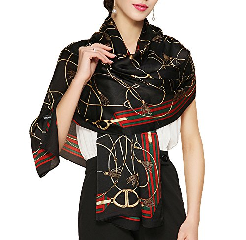 "Butterfly Rose 100% Mulberry Silk Fashion Pattern Long Scarf Shawl Wrap 71"" X 28"" (S7 Black)"