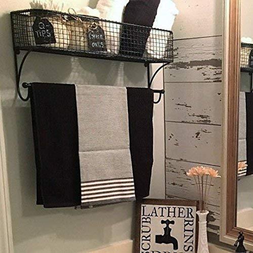 Alabama Rod - Wire Bathroom Shelf, Bathroom Organizer, Bathroom Towel Rack, Basket with Towel Rod