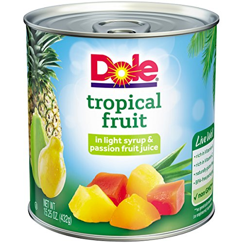- Dole Mixed Tropical Fruit in Light Syrup & Passion Fruit Juice, 15.25 Ounce Can, All Natural Pineapple Red Papaya & Yellow Papaya in Light Syrup & Passion Fruit Juice, Pop & Peel Lid