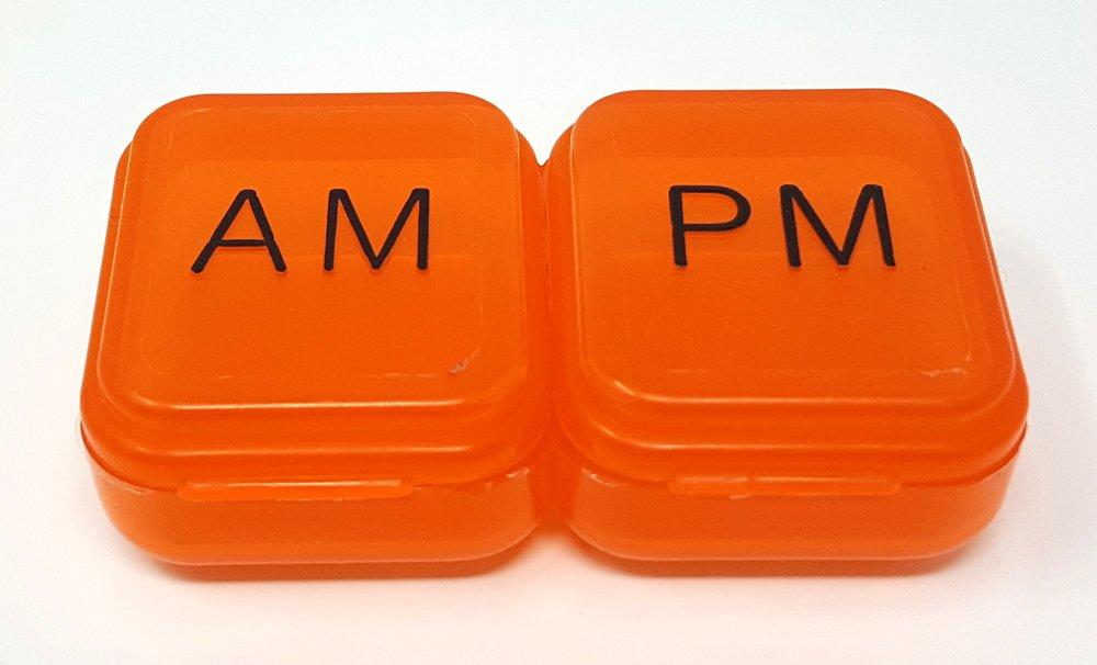 AM/PM Pocket Pill Box Organizer (Orange)