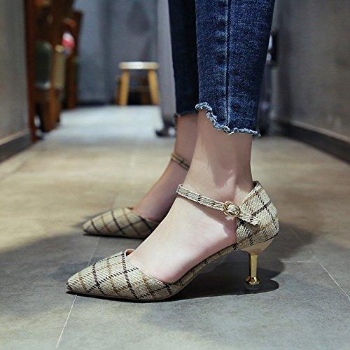 YMFIE Tobillo Bola de de Parte de Zapatos Verano Boda en Correa de Sandalias de el b Moda de tacón señaló UqUrEwn5d6