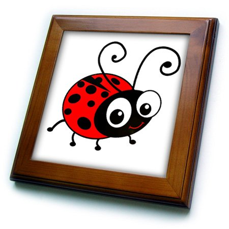 3dRose ft_113181_1 Cute Ladybug-Kawaii Happy Red and Black Spotted Ladybird Cartoon-Lady Bug Insect on White-Framed Tile, 8 by (Ladybug Framed Tile)
