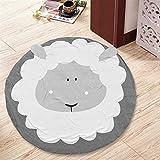 Jeteven Kids Rug Baby Nursery Crawling Mat Round Carpet Cartoon Animal Design Sheep Dia.95cm/37.4in