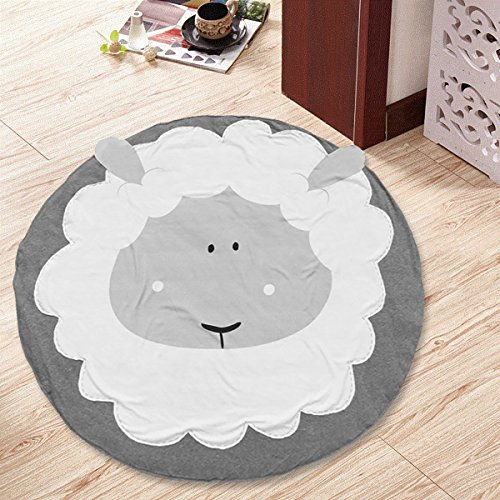 Jeteven Kids Rug Baby Nursery Crawling Mat Round Carpet Cartoon Animal Design Sheep Dia.95cm/37.4in by Jeteven