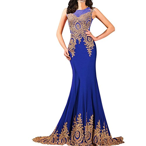 Lemai Shiny Crystals Long Mermaid Formal Prom Pageant Evening Dresses Gold Lace Sheer Royal Blue US12