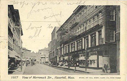 View of Merrimack Str. Haverhill, Massachusetts Original Vintage Postcard