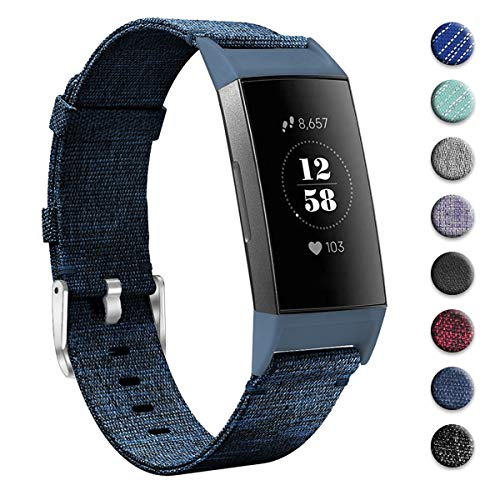 (hooroor Woven Fabric Breathable Replacement Bands Compatible for Fitbit Charge 3 and Charge 3 SE Fitness Activity Tracker, Soft Accessory Sports Band Wristbands Strap Women Men (Denim Blue, Small))