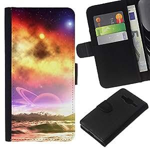 Planetar® Modelo colorido cuero carpeta tirón caso cubierta piel Holster Funda protección Para Samsung Galaxy Core Prime / SM-G360 ( Sunset Beautiful Nature 39 )