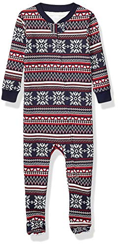 Amazon Essentials Kids Baby and Toddler Zip-Front Footed Sleeper, Navy Fairisle, 3T