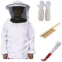LORJE Lorje Beekeeping Bee Keeping Suit Jacket&Gloves& Bee Hive Brush & J Hook Hive Tool Set