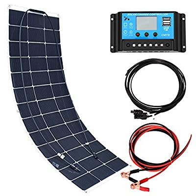 XINPUGUANG 100 Watt Solar Panel, Flexible Photovoltaic Cell Mono crystalline Solar Module for 12V with Controller Portable Solar Battery Charger for Off-Grid, RV, Cabin, Boat.