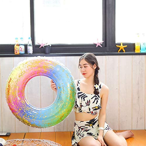 LHY Anello di Nuoto, Summer Beach Pool Float Salvagente Gonfiabile, Gonfiabile Glitter Riempito Arcobaleno Swim Ring, 35""