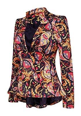 LookbookStore Women's Lapel Dashiki African Print Asymmetric Peplum Blazer Jacket