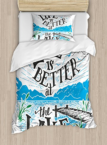 Cabin Decor Duvet Cover Set by Ambesonne, Life is Better at the Lake Wooden Pier Plants Mountains Outdoors Sketch, 2 Piece Bedding Set with 1 Pillow Sham, Twin / Twin XL Size, Blue Black Green (Pier One Blanket)