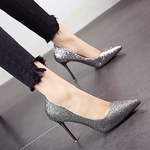 FLYRCX Primavera Verano tacones delgados zapatos de tacón alto estilo Europeo parte zapatos superficialmente solo zapatos a