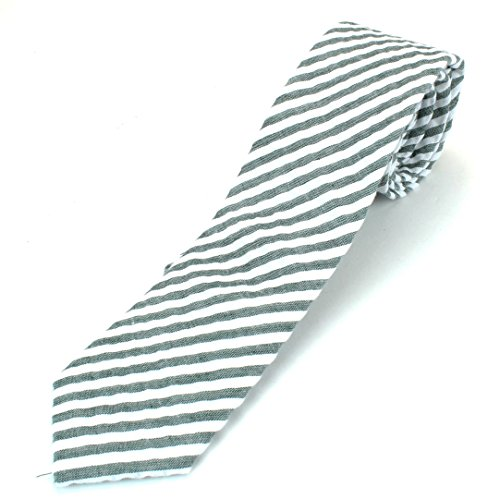 Men's Cotton Skinny Necktie Tie Seersucker Pattern Puckered Texture Vintage Feel - Dark Green