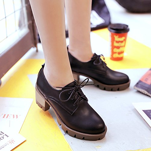 Oxfords Women's Heel High Show Black Up Shine Lace Platform Casual Shoes pfq55wSY8