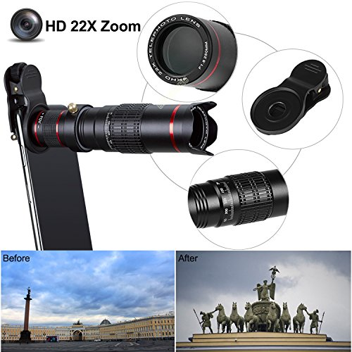Camera Lens,BECEMURU 22X 4 in 1 Telephoto Zoom Camera Lens Kit Double Regulation HD Scale Distance FOV Phone Lens Attachment with Tripod for iPhone X/8/7/7 Plus/6s/6/5,Samsung Galaxy/Note Smartphone by BECEMURU (Image #4)