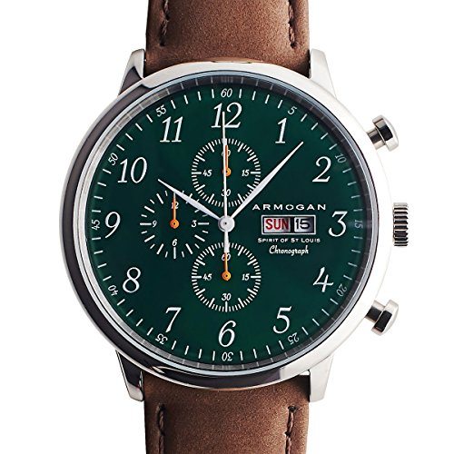 EG Armogan Men Watch Chronograph OS00 Green Dial Brown Leather (Emerald Mens Watch)